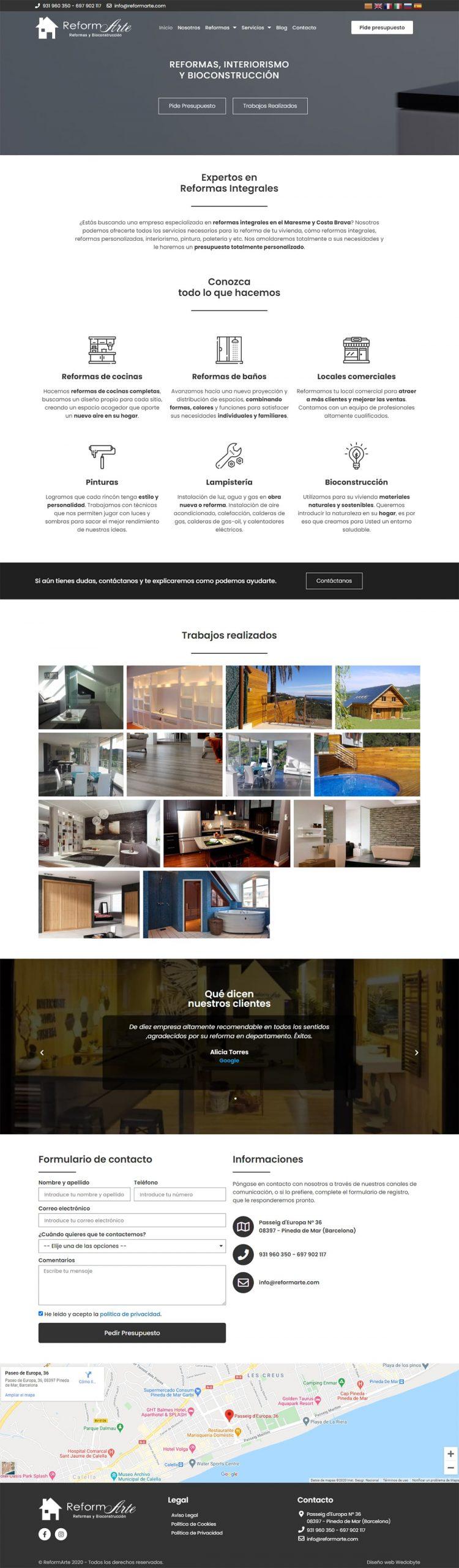 ReformArte Página Web Captura